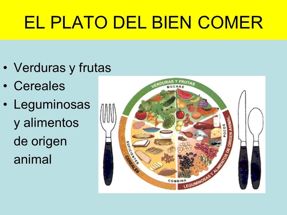 EL PLATO DEL BIEN COMER Verduras y frutas Cereales Leguminosas y alimentos de origen animal