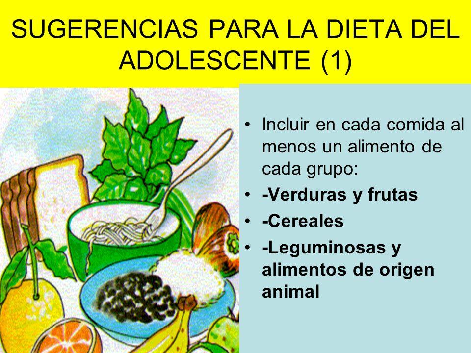 SUGERENCIAS PARA LA DIETA DEL ADOLESCENTE (1) Incluir en cada comida al menos un alimento de cada grupo: -Verduras y frutas -Cereales -Leguminosas y a