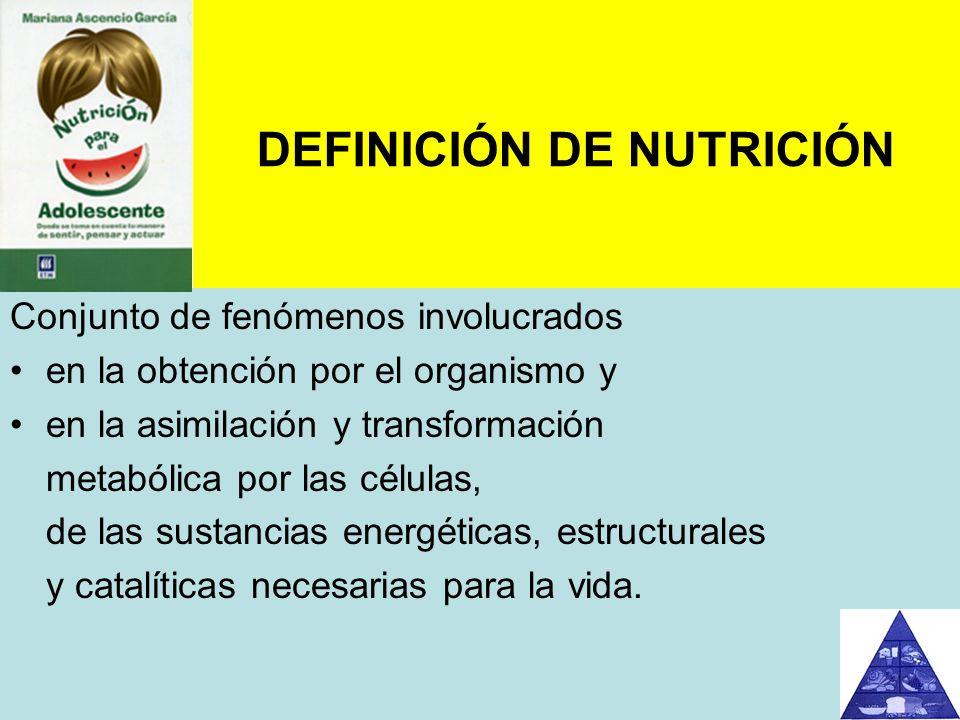 DEFINICIÓN DE NUTRICIÓN Conjunto de fenómenos involucrados en la obtención por el organismo y en la asimilación y transformación metabólica por las cé