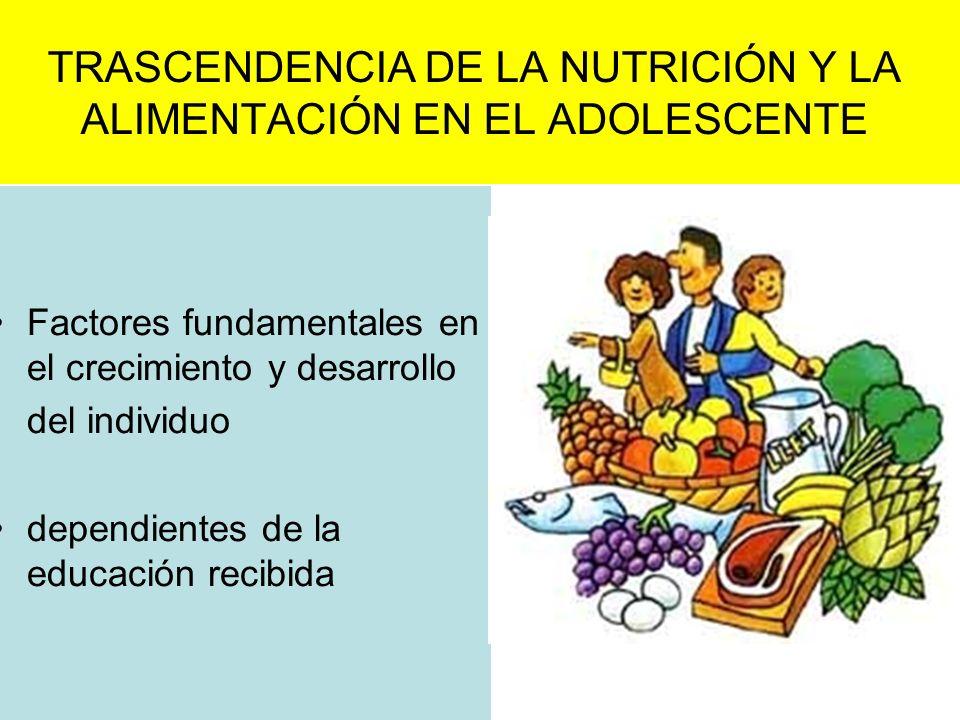 TRASCENDENCIA DE LA NUTRICIÓN Y LA ALIMENTACIÓN EN EL ADOLESCENTE Factores fundamentales en el crecimiento y desarrollo del individuo dependientes de