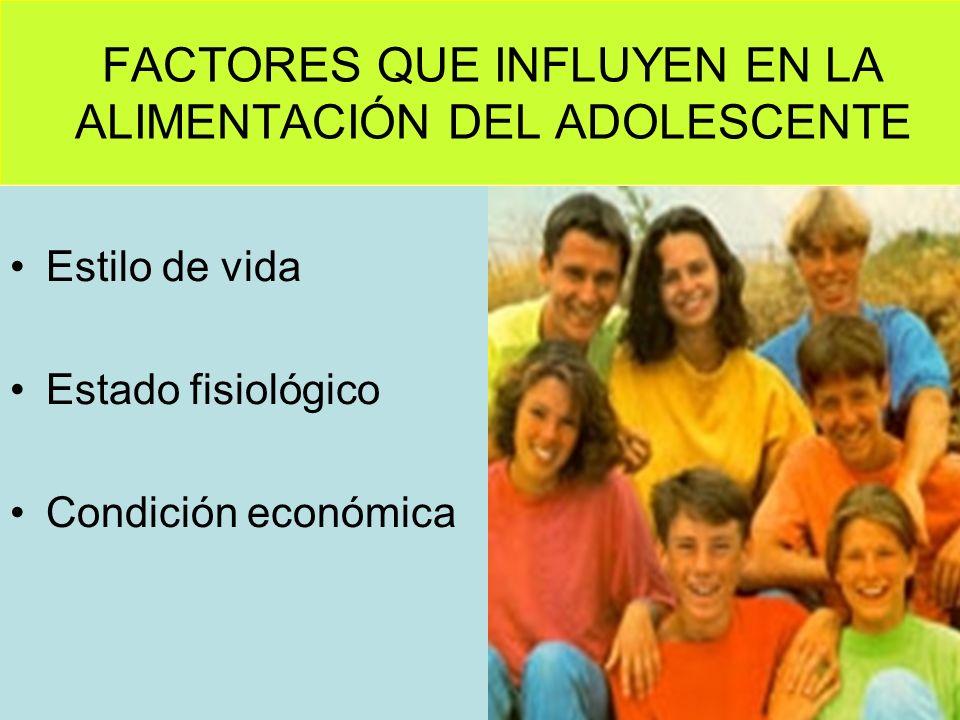 FACTORES QUE INFLUYEN EN LA ALIMENTACIÓN DEL ADOLESCENTE Estilo de vida Estado fisiológico Condición económica