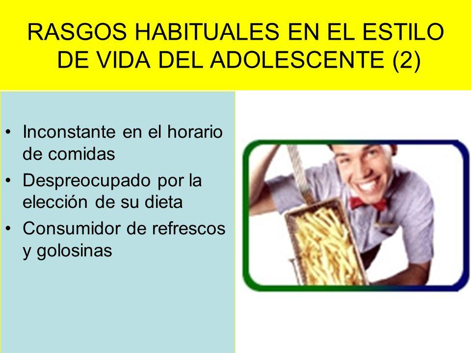 RASGOS HABITUALES EN EL ESTILO DE VIDA DEL ADOLESCENTE (2) Inconstante en el horario de comidas Despreocupado por la elección de su dieta Consumidor d