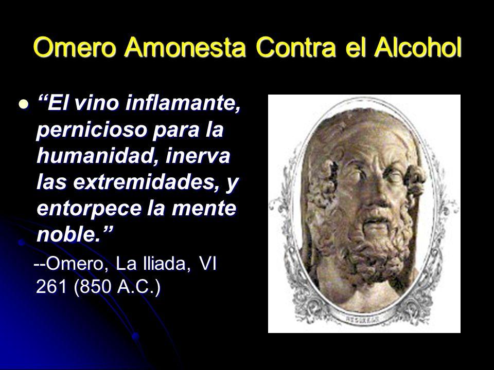 Omero Amonesta Contra el Alcohol El vino inflamante, pernicioso para la humanidad, inerva las extremidades, y entorpece la mente noble. El vino inflam