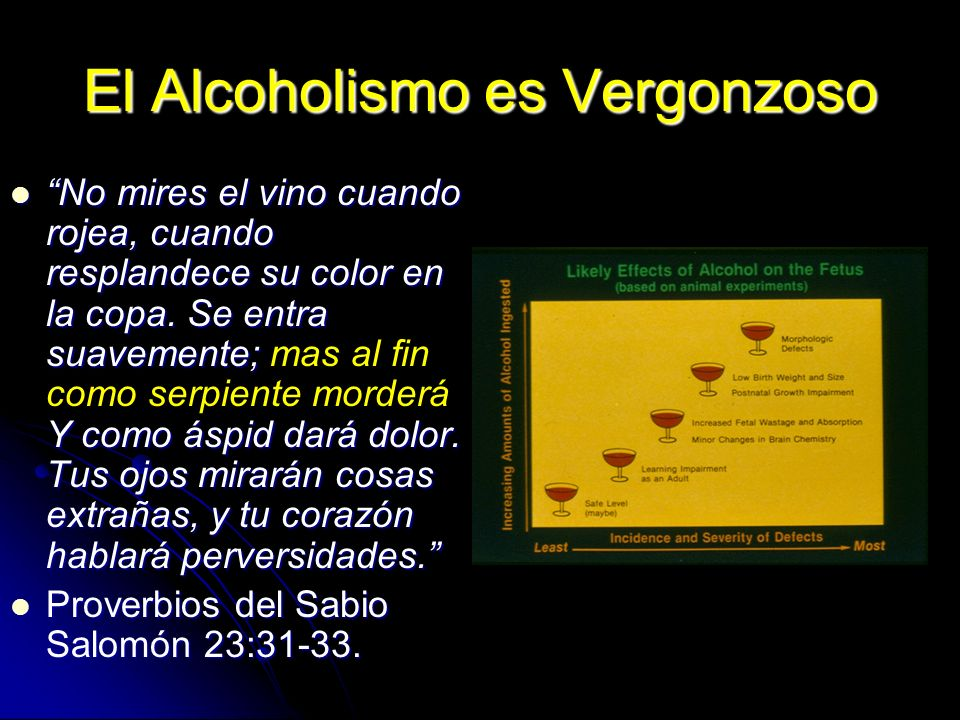 El Alcoholismo es Vergonzoso No mires el vino cuando rojea, cuando resplandece su color en la copa. Se entra suavemente; Y como áspid dará dolor. Tus