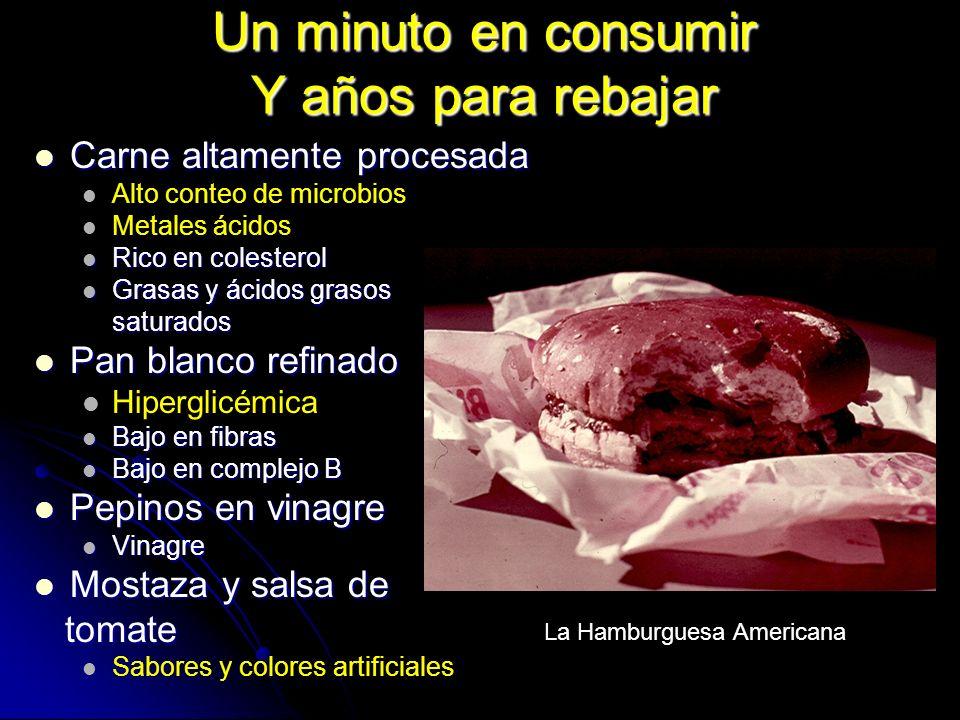 Un minuto en consumir Y años para rebajar Carne altamente procesada Carne altamente procesada Alto conteo de microbios Metales ácidos Rico en colester