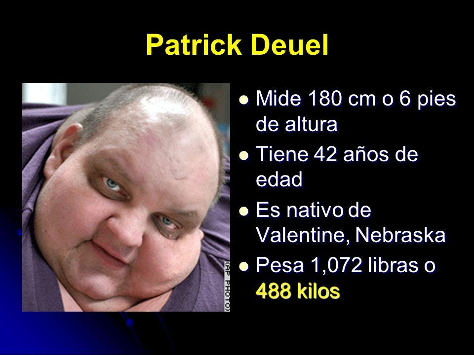 Patrick Deuel Mide 180 cm o 6 pies de altura Mide 180 cm o 6 pies de altura Tiene 42 años de edad Tiene 42 años de edad Es nativo de Valentine, Nebras
