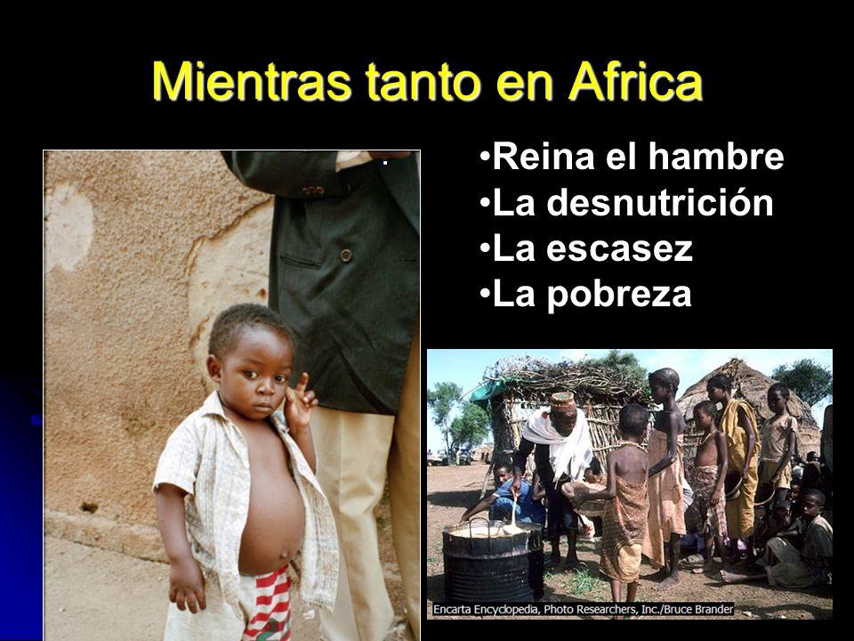 Mientras tanto en Africa. Reina el hambre La desnutrición La escasez La pobreza