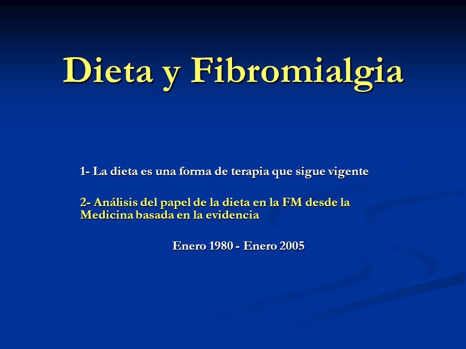 Dieta y Fibromialgia 1- La dieta es una forma de terapia que sigue vigente 2- Análisis del papel de la dieta en la FM desde la Medicina basada en la e