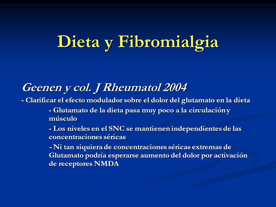 Dieta y Fibromialgia Geenen y col. J Rheumatol 2004 - Clarificar el efecto modulador sobre el dolor del glutamato en la dieta - Glutamato de la dieta