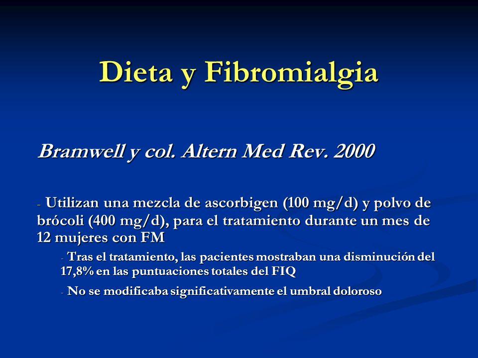 Dieta y Fibromialgia Bramwell y col. Altern Med Rev. 2000 - Utilizan una mezcla de ascorbigen (100 mg/d) y polvo de brócoli (400 mg/d), para el tratam