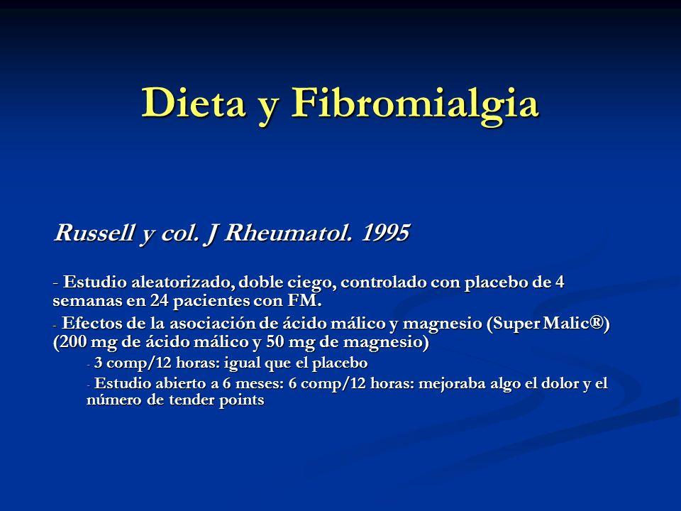 Dieta y Fibromialgia Russell y col. J Rheumatol. 1995 - Estudio aleatorizado, doble ciego, controlado con placebo de 4 semanas en 24 pacientes con FM.
