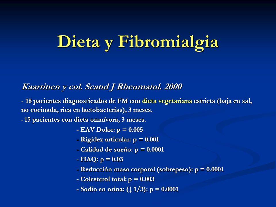Dieta y Fibromialgia Kaartinen y col. Scand J Rheumatol. 2000 - 18 pacientes diagnosticados de FM con dieta vegetariana estricta (baja en sal, no coci