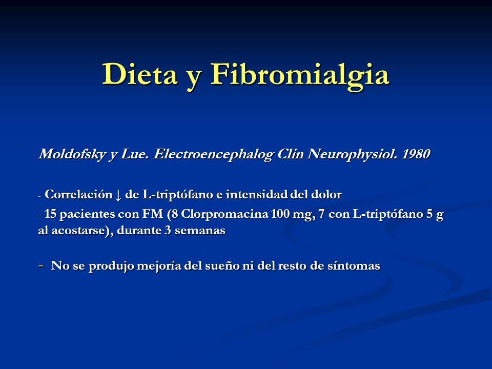 Dieta y Fibromialgia Moldofsky y Lue. Electroencephalog Clin Neurophysiol. 1980 - Correlación de L-triptófano e intensidad del dolor - 15 pacientes co