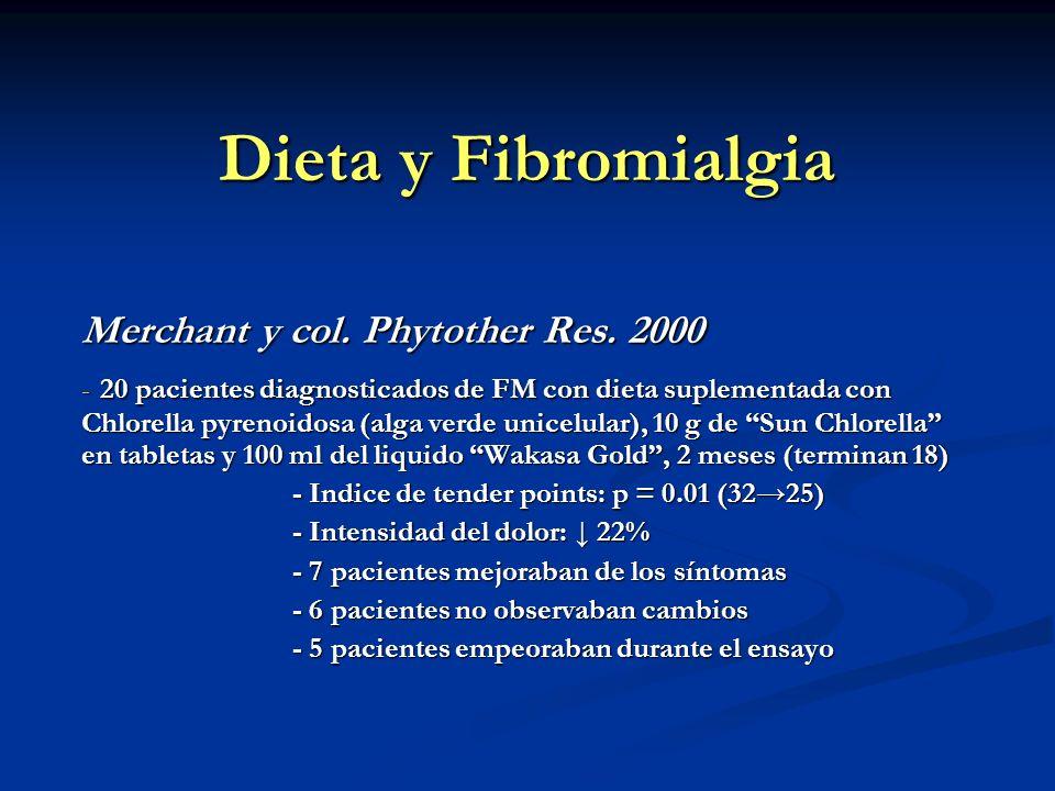 Dieta y Fibromialgia Merchant y col. Phytother Res. 2000 - 20 pacientes diagnosticados de FM con dieta suplementada con Chlorella pyrenoidosa (alga ve