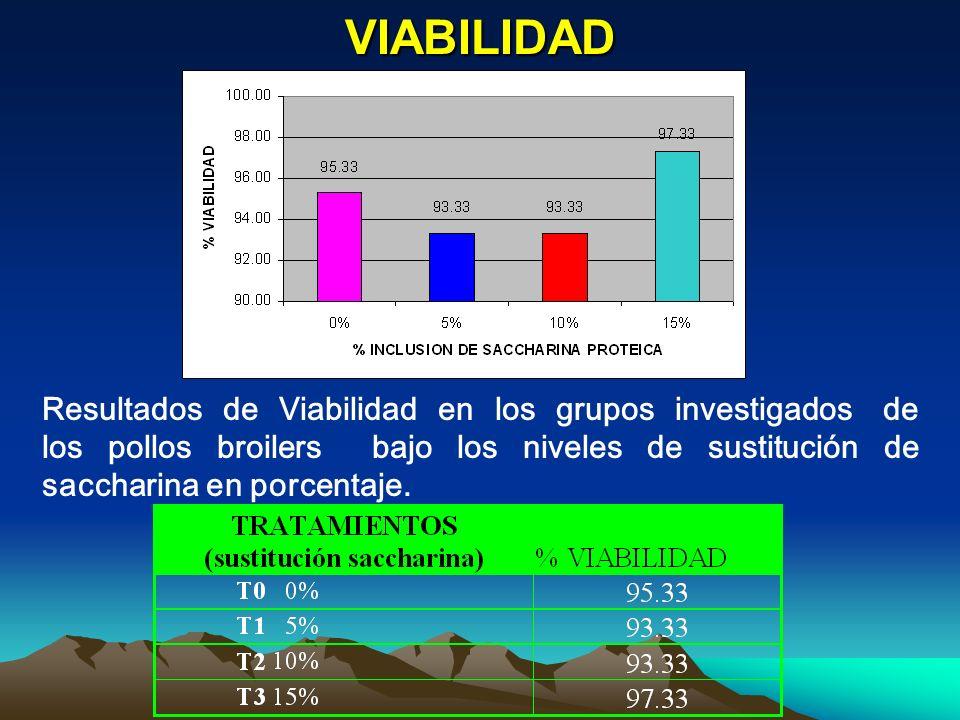 VIABILIDAD Resultados de Viabilidad en los grupos investigados de los pollos broilers bajo los niveles de sustitución de saccharina en porcentaje.