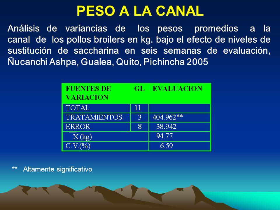 PESO A LA CANAL Análisis de variancias de los pesos promedios a la canal de los pollos broilers en kg. bajo el efecto de niveles de sustitución de sac
