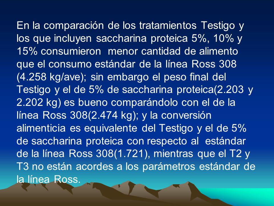 En la comparación de los tratamientos Testigo y los que incluyen saccharina proteica 5%, 10% y 15% consumieron menor cantidad de alimento que el consu