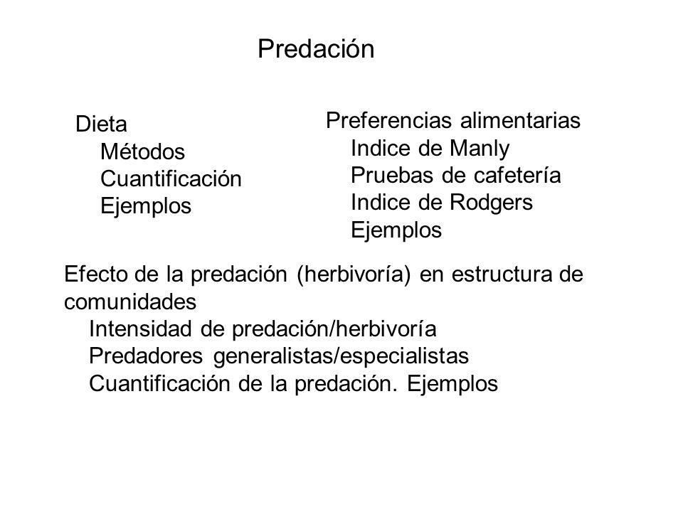 Predación Dieta Métodos Cuantificación Ejemplos Preferencias alimentarias Indice de Manly Pruebas de cafetería Indice de Rodgers Ejemplos Efecto de la