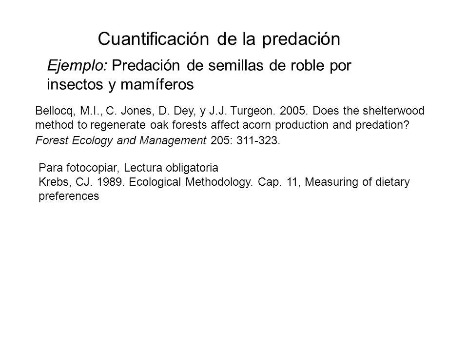 Ejemplo: Predación de semillas de roble por insectos y mamíferos Bellocq, M.I., C. Jones, D. Dey, y J.J. Turgeon. 2005. Does the shelterwood method to