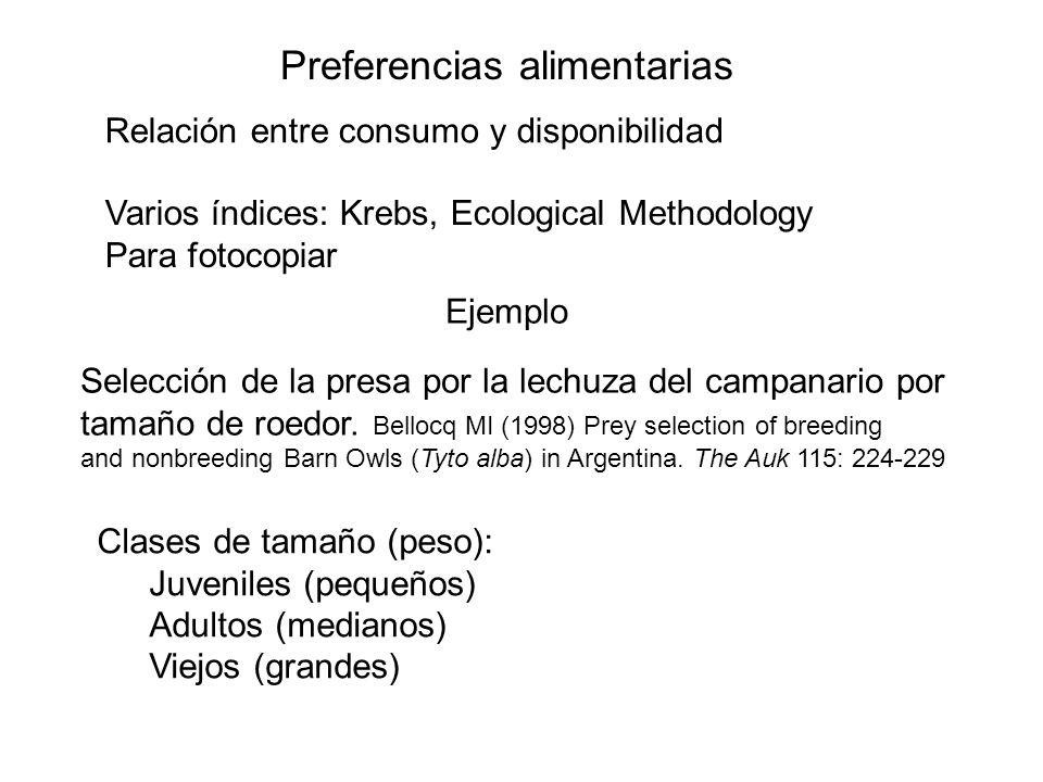 Preferencias alimentarias Relación entre consumo y disponibilidad Varios índices: Krebs, Ecological Methodology Para fotocopiar Ejemplo Selección de l