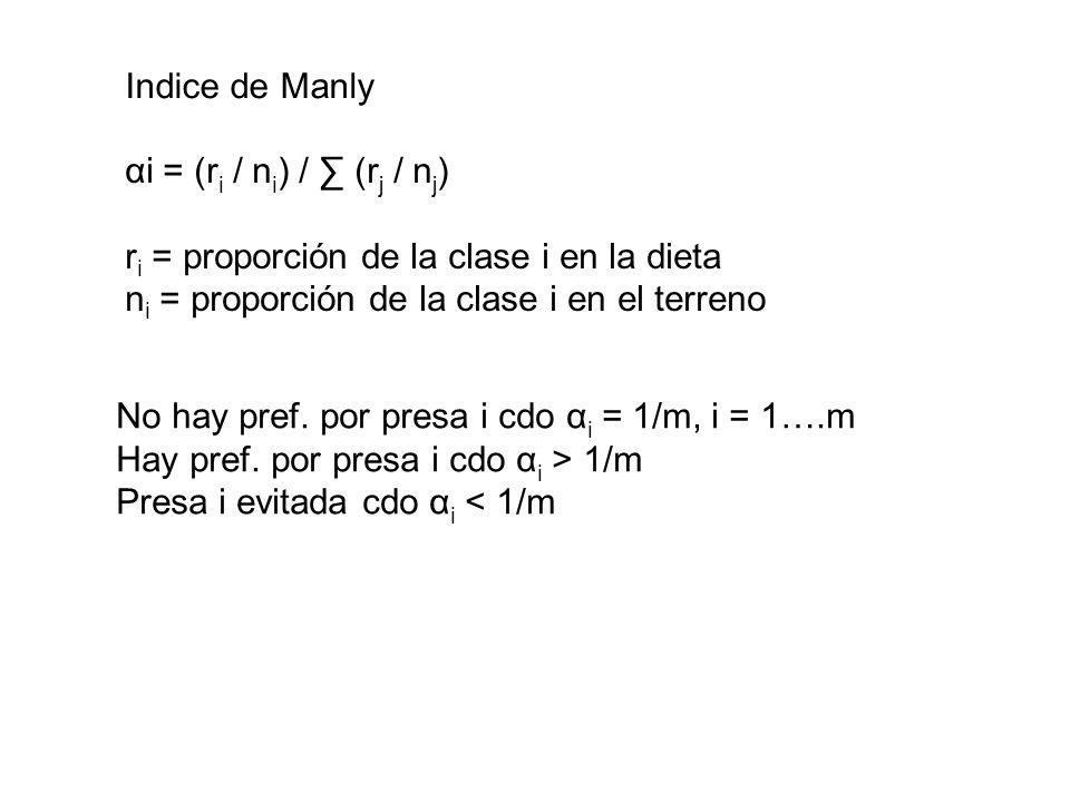 Indice de Manly αi = (r i / n i ) / (r j / n j ) r i = proporción de la clase i en la dieta n i = proporción de la clase i en el terreno No hay pref.