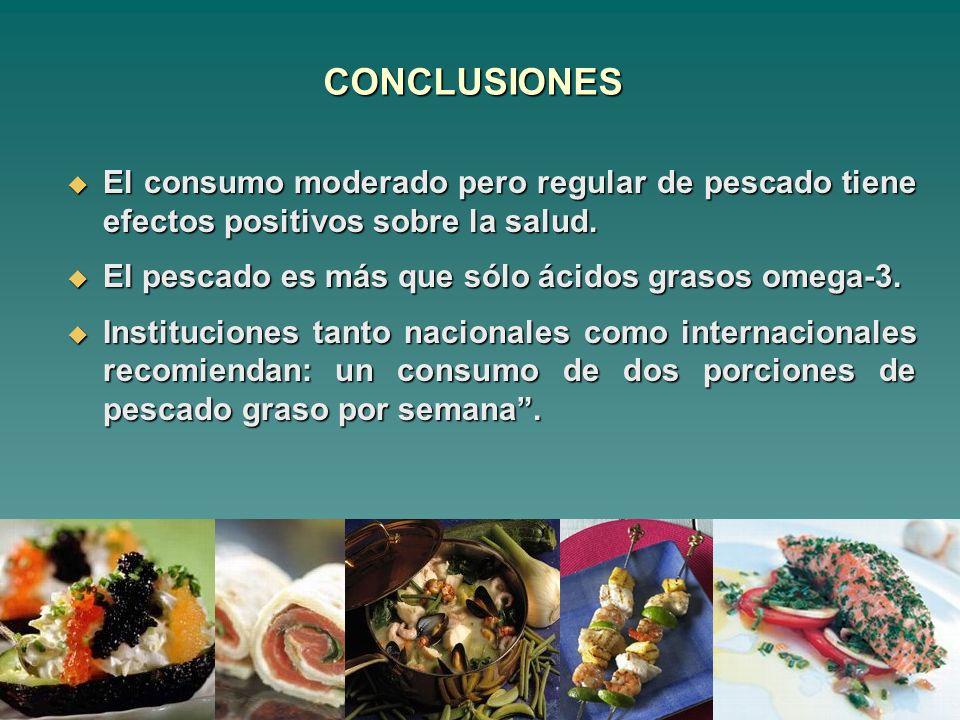 CONCLUSIONES El consumo moderado pero regular de pescado tiene efectos positivos sobre la salud. El consumo moderado pero regular de pescado tiene efe