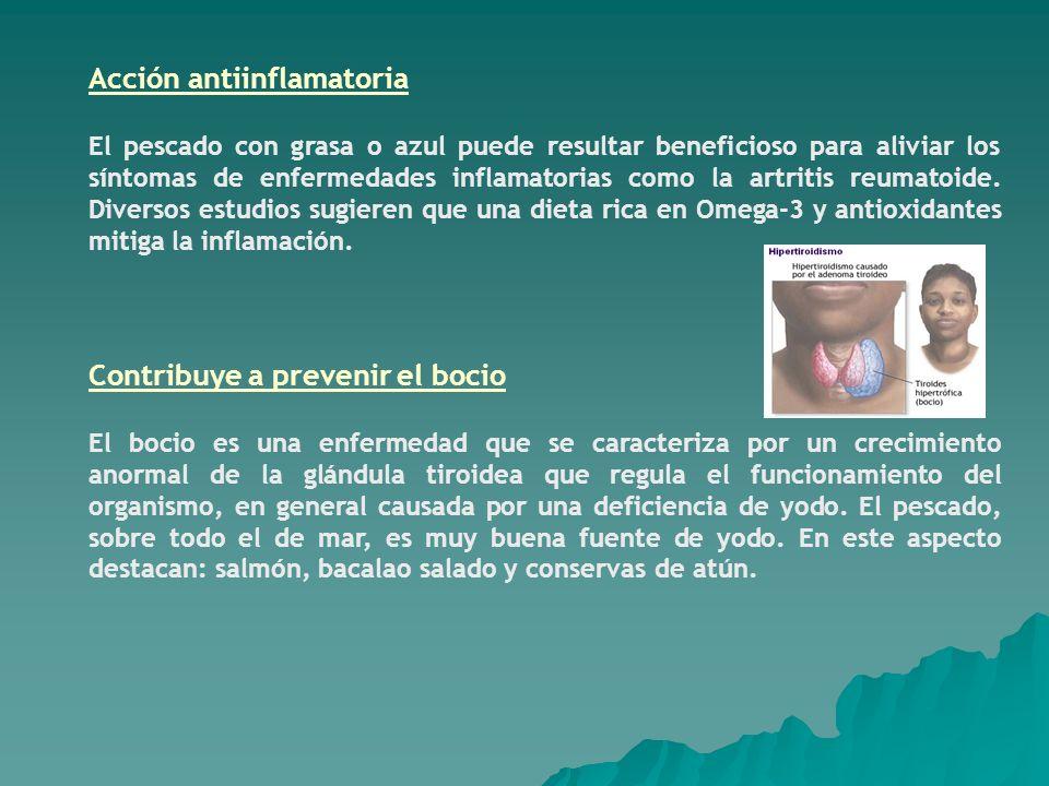 Acción antiinflamatoria El pescado con grasa o azul puede resultar beneficioso para aliviar los síntomas de enfermedades inflamatorias como la artriti