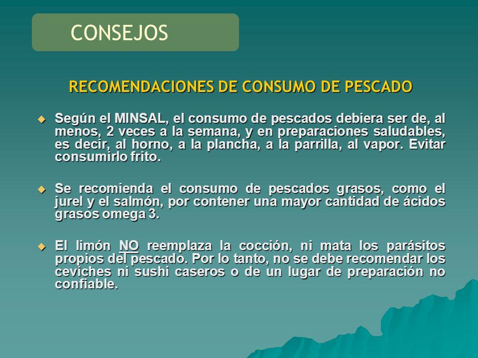 RECOMENDACIONES DE CONSUMO DE PESCADO Según el MINSAL, el consumo de pescados debiera ser de, al menos, 2 veces a la semana, y en preparaciones saluda