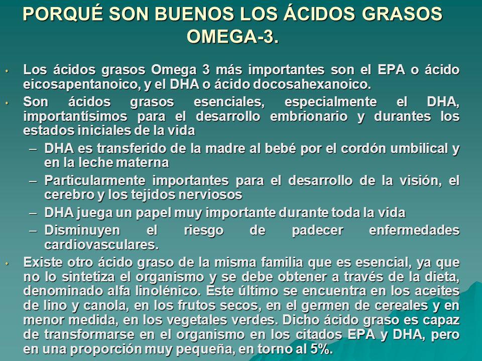 PORQUÉ SON BUENOS LOS ÁCIDOS GRASOS OMEGA-3. Los ácidos grasos Omega 3 más importantes son el EPA o ácido eicosapentanoico, y el DHA o ácido docosahex
