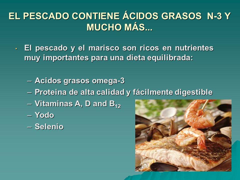 EL PESCADO CONTIENE ÁCIDOS GRASOS N-3 Y MUCHO MÁS... El pescado y el marisco son ricos en nutrientes muy importantes para una dieta equilibrada: El pe