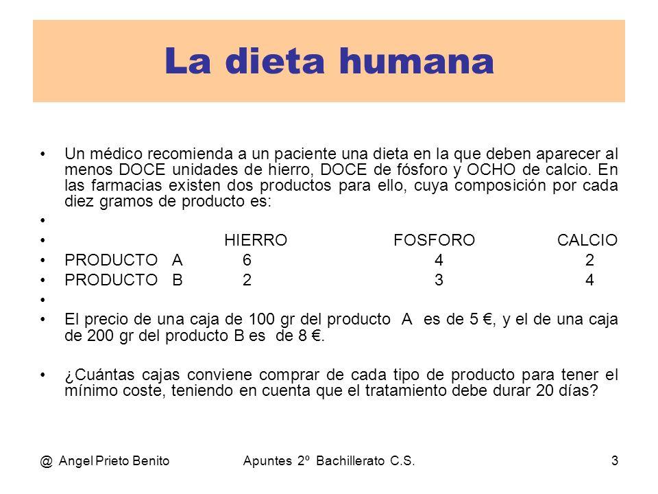 @ Angel Prieto BenitoApuntes 2º Bachillerato C.S.3 La dieta humana Un médico recomienda a un paciente una dieta en la que deben aparecer al menos DOCE
