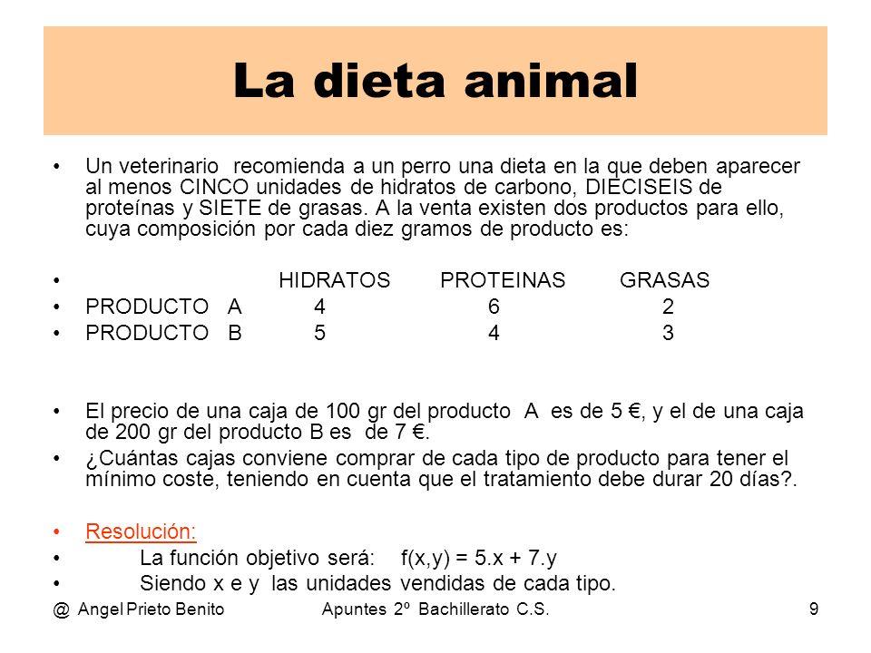 @ Angel Prieto BenitoApuntes 2º Bachillerato C.S.9 La dieta animal Un veterinario recomienda a un perro una dieta en la que deben aparecer al menos CI