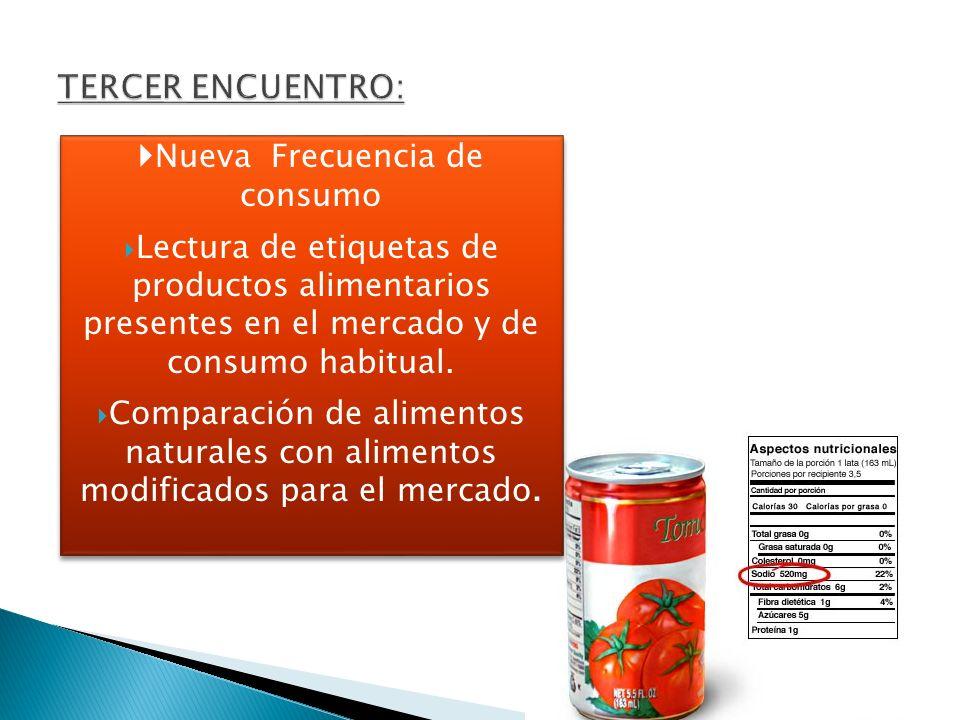 Nueva Frecuencia de consumo Lectura de etiquetas de productos alimentarios presentes en el mercado y de consumo habitual. Comparación de alimentos nat