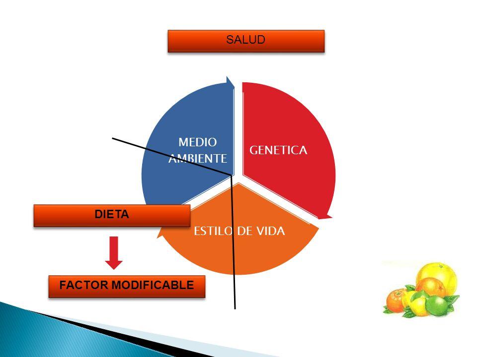 GENETICA ESTILO DE VIDA MEDIO AMBIENTE SALUD FACTOR MODIFICABLE FACTOR MODIFICABLE