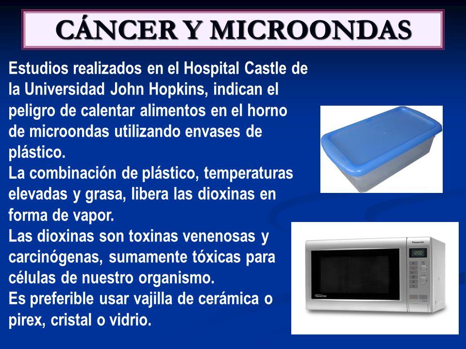 CÁNCER Y MICROONDAS Estudios realizados en el Hospital Castle de la Universidad John Hopkins, indican el peligro de calentar alimentos en el horno de microondas utilizando envases de plástico.