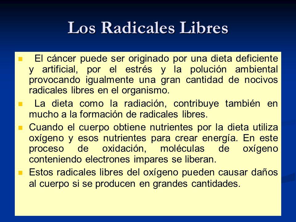 Los Radicales Libres El cáncer puede ser originado por una dieta deficiente y artificial, por el estrés y la polución ambiental provocando igualmente una gran cantidad de nocivos radicales libres en el organismo.