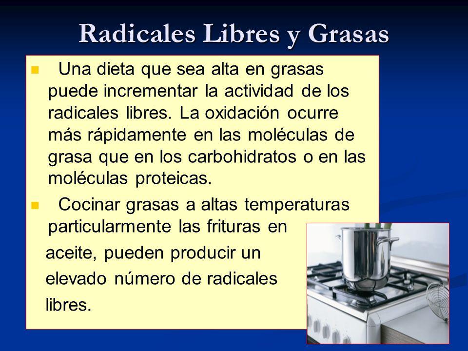 Radicales Libres y Grasas Una dieta que sea alta en grasas puede incrementar la actividad de los radicales libres. La oxidación ocurre más rápidamente