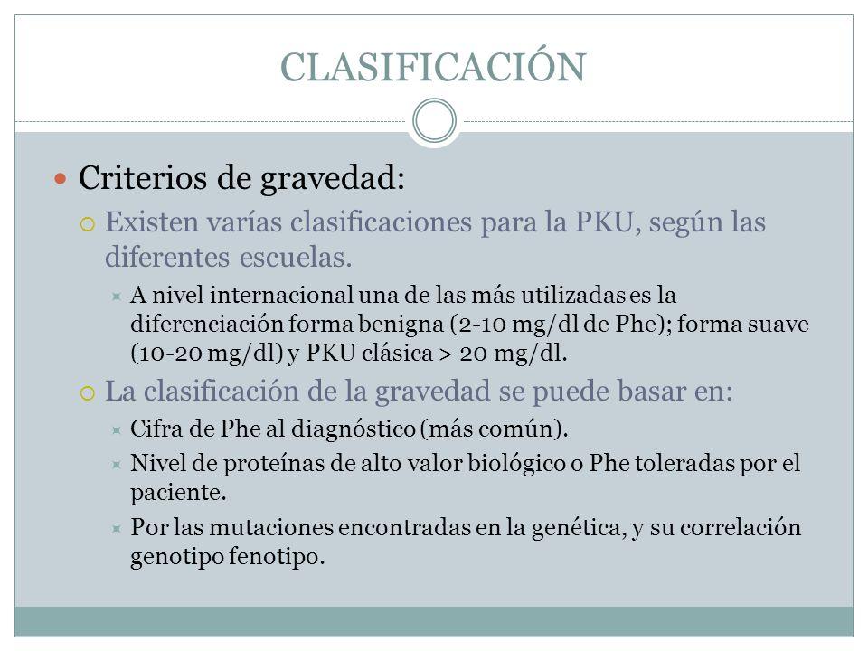CLASIFICACIÓN Criterios de gravedad: Existen varías clasificaciones para la PKU, según las diferentes escuelas. A nivel internacional una de las más u