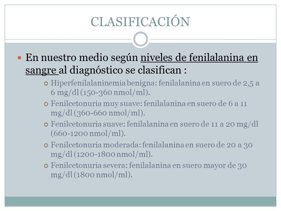 CLASIFICACIÓN En nuestro medio según niveles de fenilalanina en sangre al diagnóstico se clasifican : Hiperfenilalaninemia benigna: fenilalanina en suero de 2,5 a 6 mg/dl (150-360 nmol/ml).