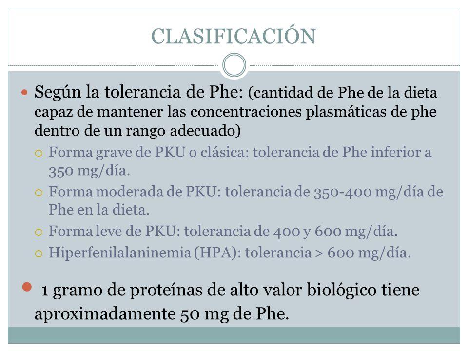 CLASIFICACIÓN Según la tolerancia de Phe: (cantidad de Phe de la dieta capaz de mantener las concentraciones plasmáticas de phe dentro de un rango ade
