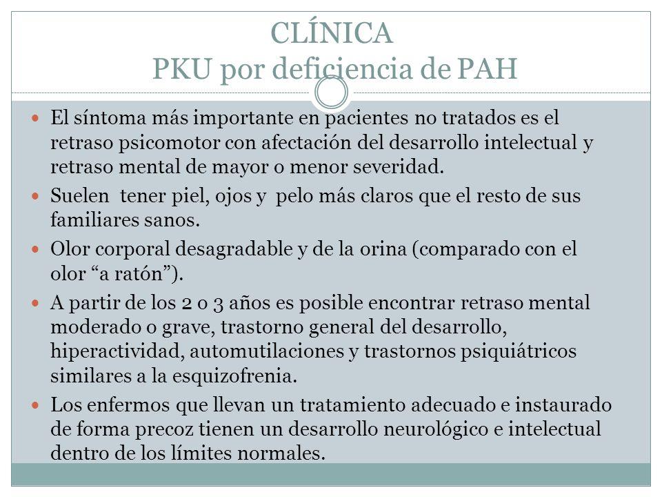 CLÍNICA PKU por deficiencia de PAH El síntoma más importante en pacientes no tratados es el retraso psicomotor con afectación del desarrollo intelectual y retraso mental de mayor o menor severidad.