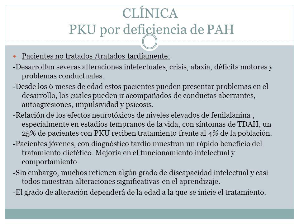 CLÍNICA PKU por deficiencia de PAH Pacientes no tratados /tratados tardíamente: -Desarrollan severas alteraciones intelectuales, crisis, ataxia, déficits motores y problemas conductuales.