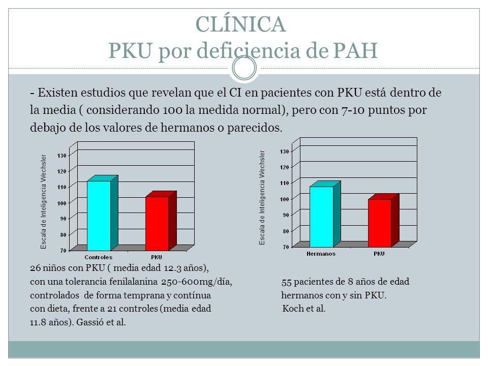CLÍNICA PKU por deficiencia de PAH - Existen estudios que revelan que el CI en pacientes con PKU está dentro de la media ( considerando 100 la medida normal), pero con 7-10 puntos por debajo de los valores de hermanos o parecidos.