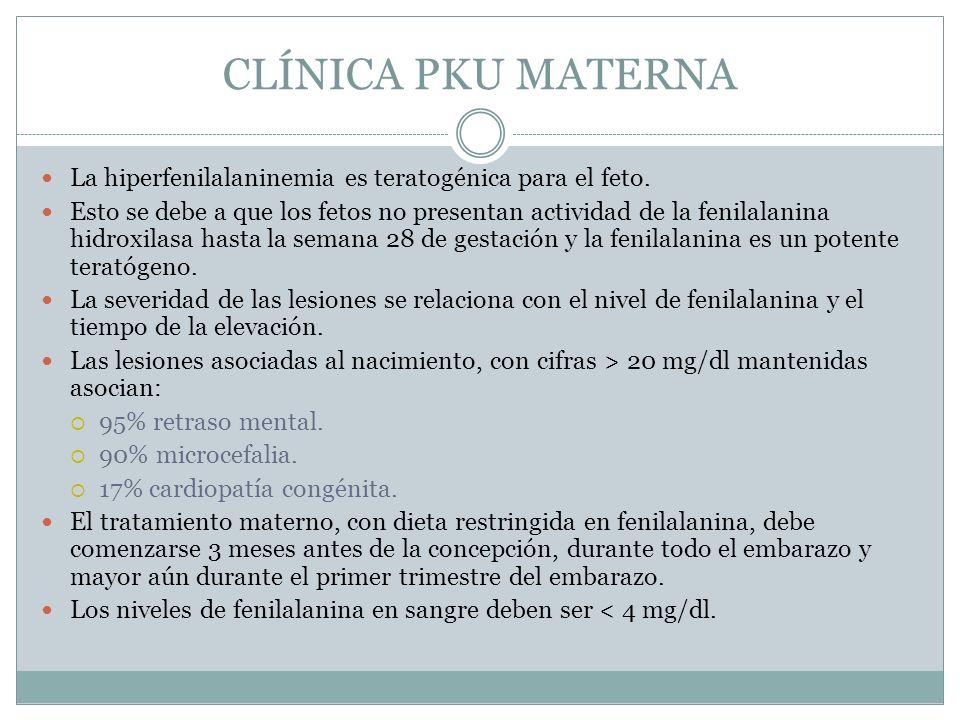 CLÍNICA PKU MATERNA La hiperfenilalaninemia es teratogénica para el feto. Esto se debe a que los fetos no presentan actividad de la fenilalanina hidro