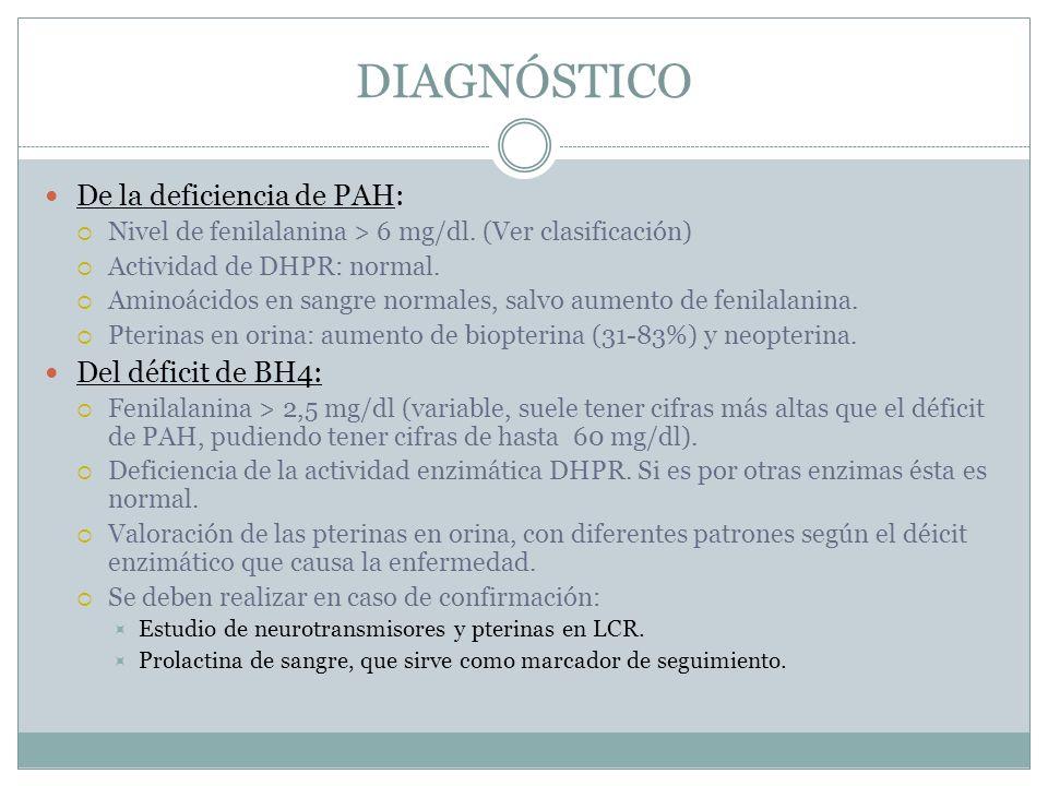 DIAGNÓSTICO De la deficiencia de PAH: Nivel de fenilalanina > 6 mg/dl. (Ver clasificación) Actividad de DHPR: normal. Aminoácidos en sangre normales,