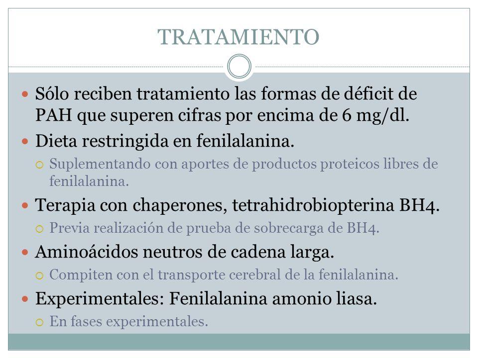 TRATAMIENTO Sólo reciben tratamiento las formas de déficit de PAH que superen cifras por encima de 6 mg/dl.