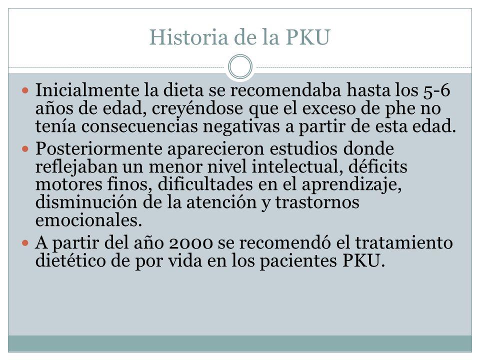 Historia de la PKU Inicialmente la dieta se recomendaba hasta los 5-6 años de edad, creyéndose que el exceso de phe no tenía consecuencias negativas a