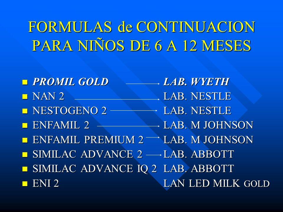 FORMULAS de CONTINUACION PARA NIÑOS DE 6 A 12 MESES PROMIL GOLDLAB. WYETH PROMIL GOLDLAB. WYETH NAN 2LAB. NESTLE NAN 2LAB. NESTLE NESTOGENO 2LAB. NEST
