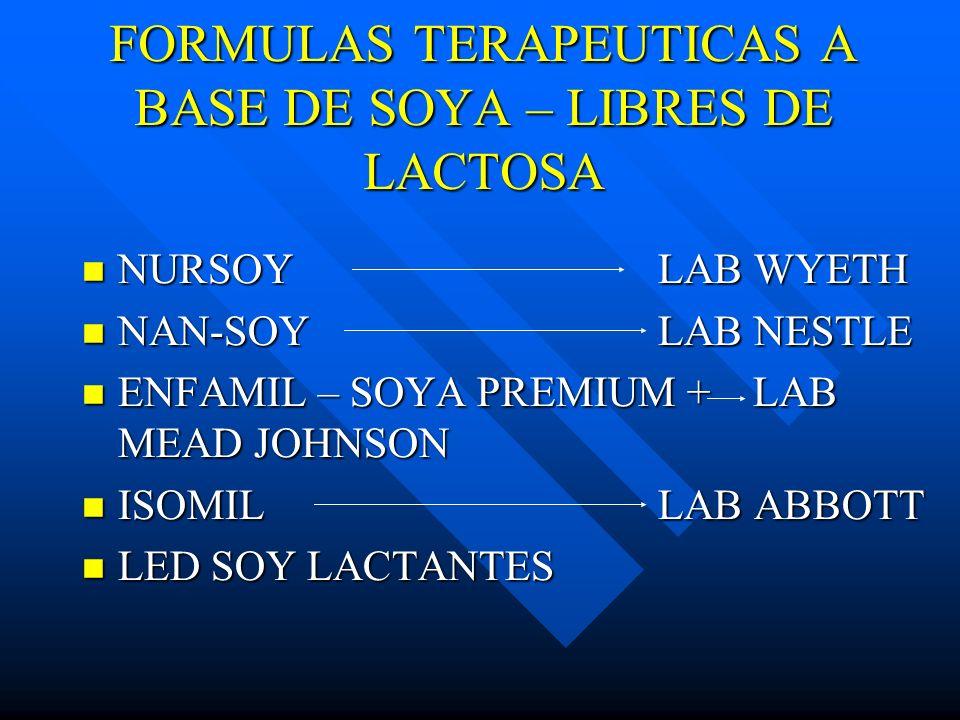 FORMULAS TERAPEUTICAS A BASE DE SOYA – LIBRES DE LACTOSA NURSOYLAB WYETH NURSOYLAB WYETH NAN-SOYLAB NESTLE NAN-SOYLAB NESTLE ENFAMIL – SOYA PREMIUM +