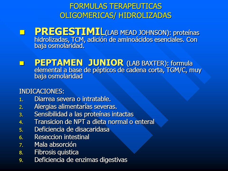 FORMULAS TERAPEUTICAS OLIGOMERICAS/ HIDROLIZADAS PREGESTIMIL (LAB MEAD JOHNSON): proteínas hidrolizadas, TCM, adición de aminoácidos esenciales. Con b